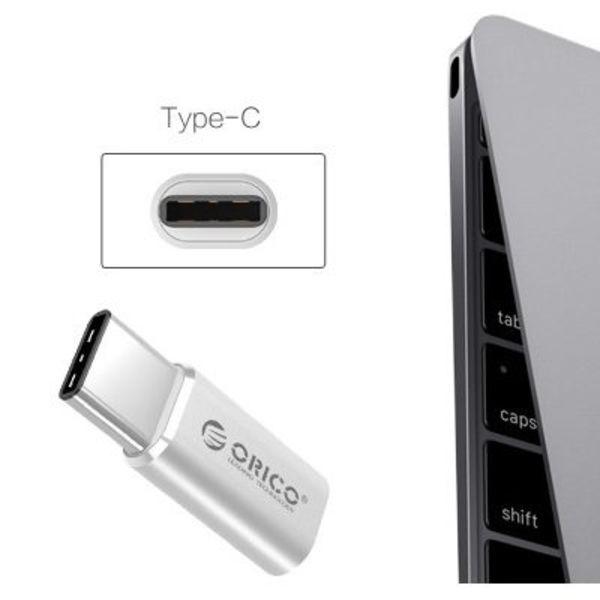 Orico Micro-USB-C-Adapter-Konverter Typ - Alu Silber