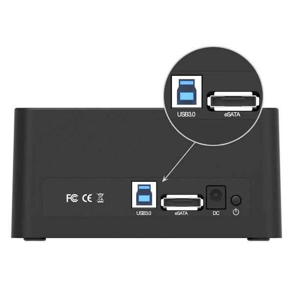Orico USB 3.0 and eSATA Docking Station for 2.5 and 3.5 inch hard disks SSD / HDD including power adapter