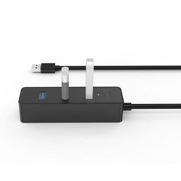Orico 4 ports 5 Gbps USB 3.0 hub in sleek modern design with 30cm USB 3.0 data cable black