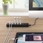 Orico USB 3.0-Hub mit sieben Ports in matt schwarzem Design mit 1m 5 Gbps USB 3.0-Datenkabel und zusätzliche USB-Stromkabel