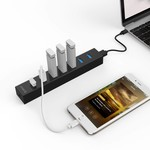 Orico USB 3.0 hub with 7 ports in matte black design with 1 meter 5Gbps USB 3.0 data cable and extra USB power cable