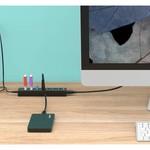 Orico USB 3.0 hub met 7 poorten in mat zwart design met 1 meter 5Gbps USB 3.0 datakabel en extra USB stroom kabel