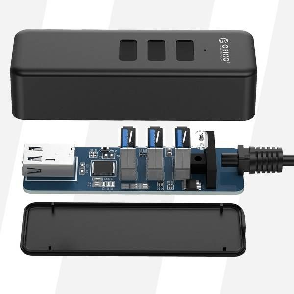 Orico USB 3.0 Type C hub with 4 USB 3.0 type A ports in matt black design 5Gbps