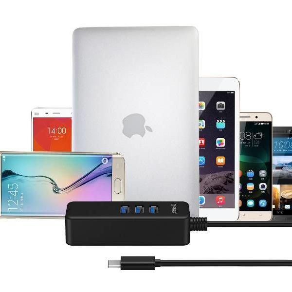 Orico USB 3.0 Typ C-Hub mit vier USB 3.0 Typ A Ports in mattschwarzem Design 5Gbps