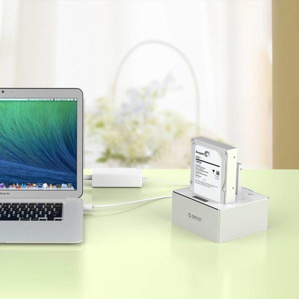Orico Aluminium Dual Bay External Hard Drive Docking Station für 2,5 und 3,5 Zoll HDD / SDD mit 1-1 Klon USB 3.0 - Silber / Weiß Mac-Stil