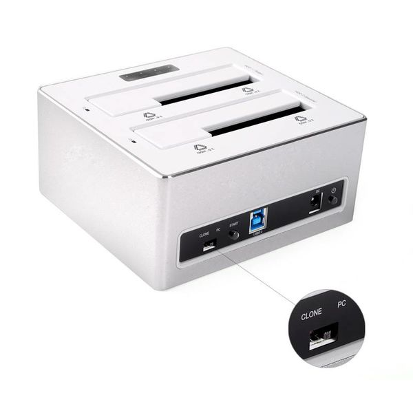 Orico Aluminium Double Bay disque dur externe Station d'accueil pour 2,5 et 3,5 pouces HDD / 1-1 avec Clone DDI USB 3.0 - Silver / White style Mac