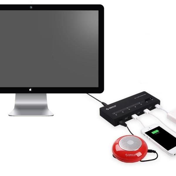 Orico USB 3.0 Hub mit 7 Ports und BC 1.2 Funktion in mattem Schwarz-Design mit 1 M 5 Gbps USB 3.0 Datenkabel und Netzteil Lade