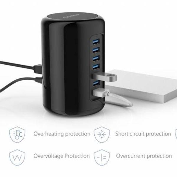 Orico Tour HUB USB avec 7 ports USB 3.0 USB 3.0 1 mètre Câble - Noir