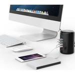 Orico 4 ports USB 3.0 Tower Hub with 2x Smart Charger Charger incl 1m USB 3.0 cable - black