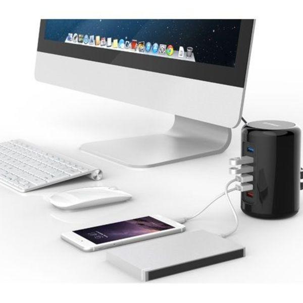 Orico 4 poorts USB 3.0 Tower Hub met 2x Smart Charger Oplader incl 1m USB 3.0 kabel - zwart