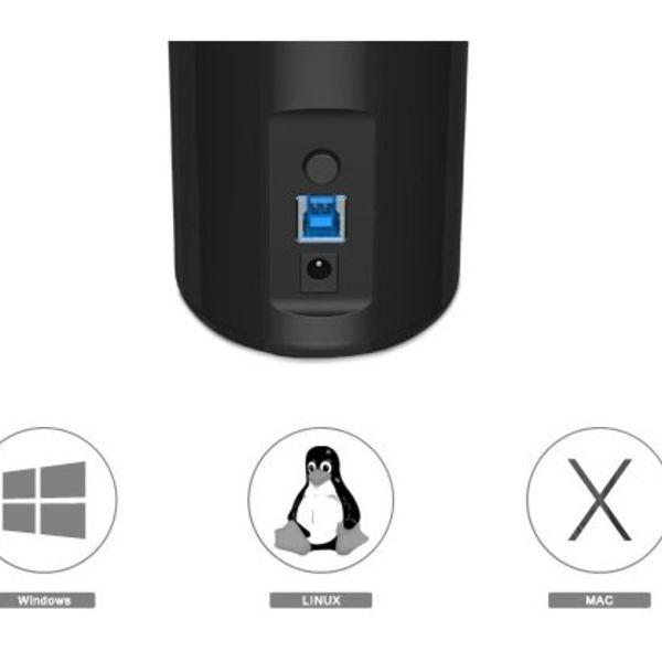 Orico 4 Port USB 3.0 Hub Turm 2x Smart Charger Ladegerät inkl 1m USB 3.0-Kabel - schwarz
