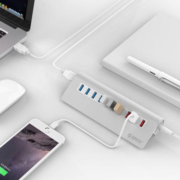 Orico Alu. Portes 7 USB3.0 avec 3 points de recharge pour Smartphone