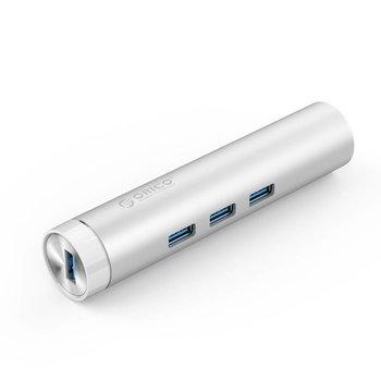 Orico Aluminium USB3.0 hub met 3 type-A poorten 1 Ethernet poort - Zilver
