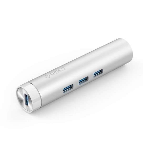 Orico Aluminium USB3.0-Hub mit drei Typ-A-Ports 1 Ethernet-Port - Typ C und Typ A - 5 Gbps - 10/100 / 1000 Mbps - RTL-Controller - Silber