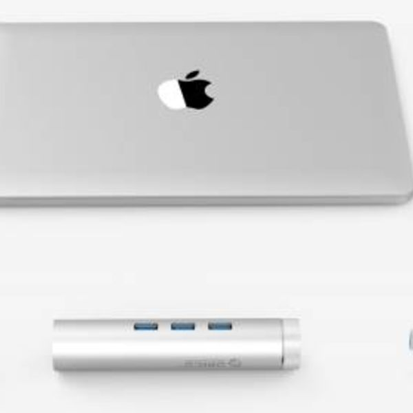 Orico Aluminium hub USB3.0 avec trois ports de type A 1 port Ethernet - Type C et Type A - 5Gbps - 10/100 / 1000Mbps - Contrôleur RTL - Argent