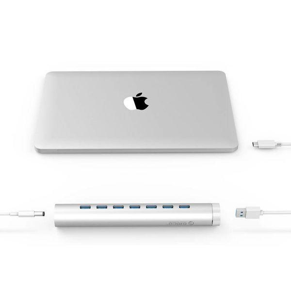 Orico Aluminium USB3.0 Hub mit 7 Ports - Kompatibel mit Typ-A und Typ-C - Inkl. -Laptopstand Adapter - VIA Chip - 5 Gbps - Mac Style - Silber