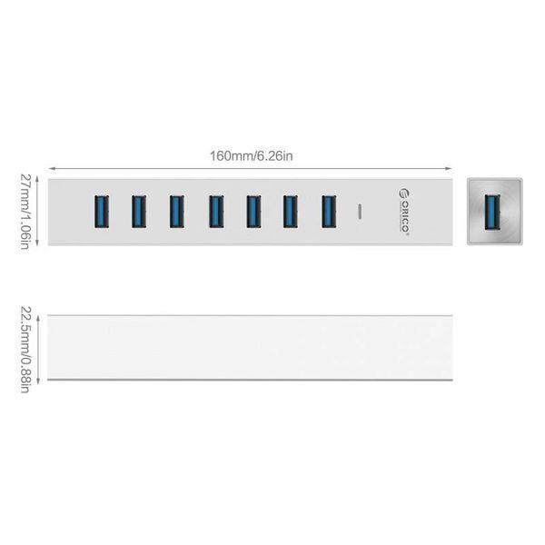 Orico Aluminium USB3.0 Hub 7 avec des portes de type A - compatible avec le type A et de type C - avec deux lignes de données et 10W adaptateur secteur - puce VIA - 5Gbps - Argent métallisé