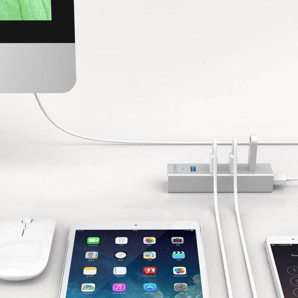 Orico Aluminium Hub USB 3.0 avec quatre ports de type A pour Windows XP / Vista / 7/8/10, Linux et Mac OS - - VIA puce 5Gbps - Argent