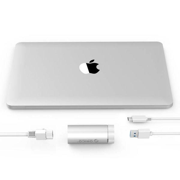 Orico Aluminium Superspeed USB 3.0 auf Gigabit-Ethernet-Adapter - inkl. USB 3.0 Typ A auf Typ-A / C-Kabel - 10/100 / 1000 Mbps - Silber Metallic