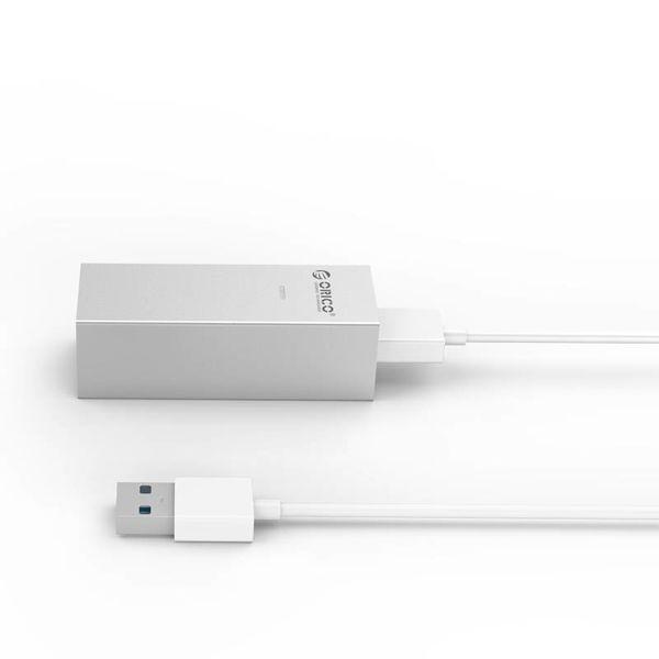 Orico aluminium USB3.0 naar gigabit ethernet adapter - type-A naar type-A/type-C kabel - zilver