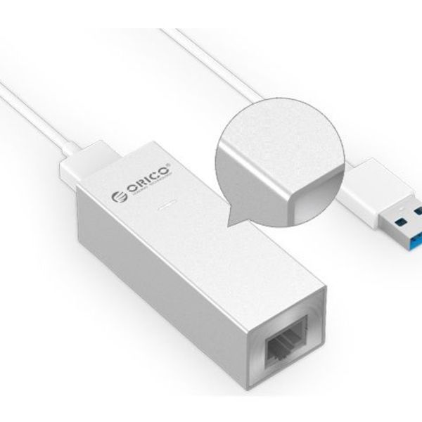 Orico aluminum USB3.0 to gigabit ethernet adapter - type-A to type-A / type-C cable - silver
