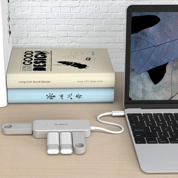 Orico Type C USB3.0 Hub avec 4 ports type A - 5 Gbps - VIA Chip - Longueur du câble 15cm - Argent
