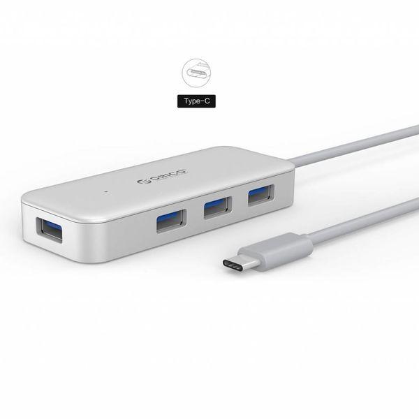 Orico Type-C USB3.0 Hub met 4 Type-A Poorten - 5Gbps - VIA-Chip - Kabellengte 15cm - Zilver