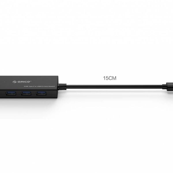 Orico USB 3.0 Type-C hub - 3x Type-A ports - Incl. SD / TF Card Reader - LED Indicator - 30CM cable - Black.