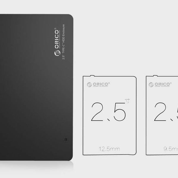 Orico Festplattengehäuse 2,5 Zoll / Metall und Kunststoff / HDD / SSD / USB3.0 / Typ C / Schwarz