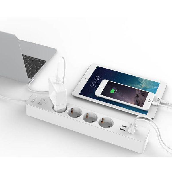 Orico Stekkerdoos met schakelaar en overspanningsbeveiliging 2500W / USB 20W 1.5m kabel Kindveilig en met randaarde