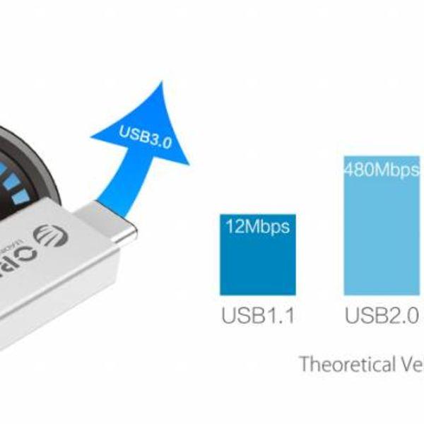 Orico Type-C naar USB 3.0 Type-A OTG Adapter - Opladen & Dataoverdracht - Zilver