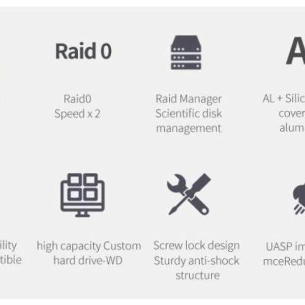 Orico Aluminium 2,5 inch Dual-bay USB3.1 Type-C 10Gbps RAID Externe Harde Schijf Behuizing