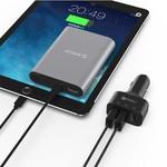 Orico 3 poorts autolader met Quick Charge 3.0 (Qualcomm)- Snelle QC3.0 35W 3-poort Autolader voor Smartphones, tablets, powerbank, e-readers en meer - Zwart