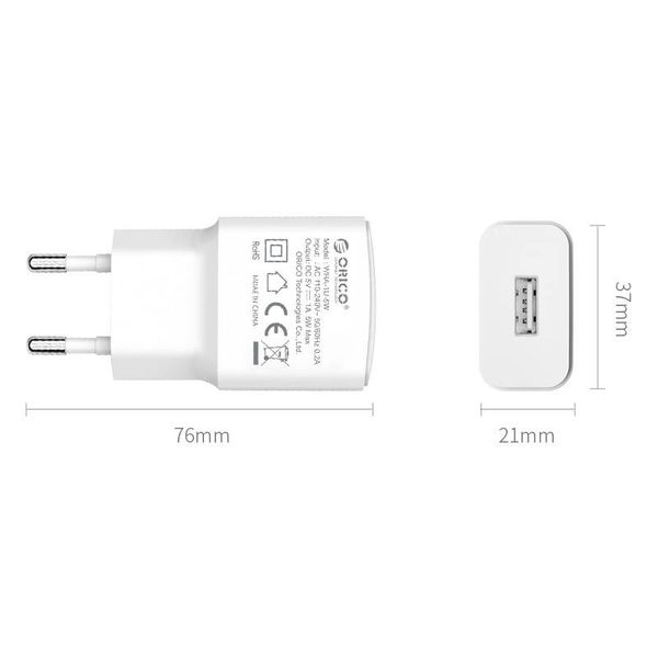 Orico USB wall charger mini thuislader compacte reislader 2A / 10W - Wit