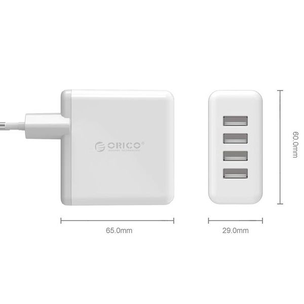 Orico USB3.0 Home charger / Travel charger with four Type-A ports - 2.4A per port - 30W - White