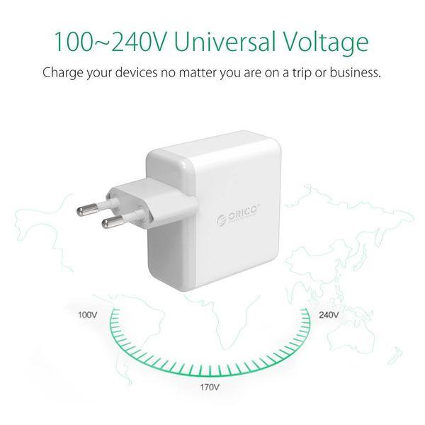 Orico USB3.0 Hauptaufladeeinheits / Reise-Ladegerät mit vier Typ-A-Ports - 2,4A pro Port - 30W - Weiß