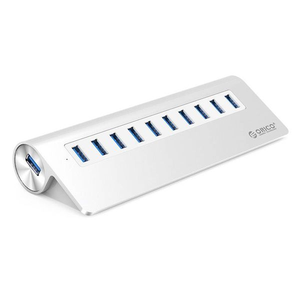 Orico Aluminium 10 poort USB 3.0 hub met BC1.2 - 5Gbps - Incl. 12V stroomadapter - 2.4A per poort - Mac Style - Zilver