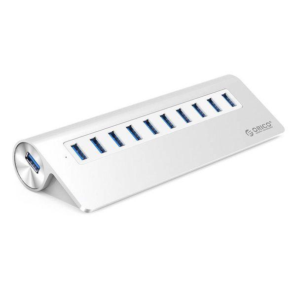 Orico Aluminum 10 Port USB 3.0 hub 5Gbps suitable for eg computer / laptop / MacBook / iMac - Silver
