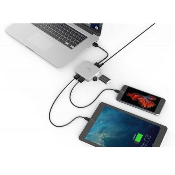 Orico 4 Port USB 3.0 HUB BC1.2 - mit Energien-Adapter und USB 3.0 Kabel - Silber