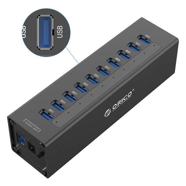 Orico USB 3.0 hub met 7 poorten - met  12V stroomadapter - Incl. LED-indicatoren - Zwart