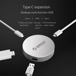 Orico USB Type C to HDMI converter with 1x USB Type C and 1x USB 3.0 hub