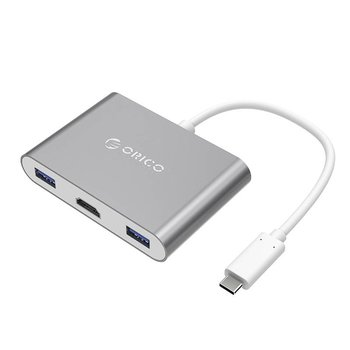 Orico Alu USB Type-C hub with HDMI Converter for MacBook, - Sky Gray