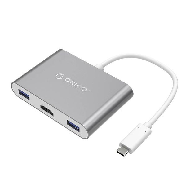 Orico Aluminium USB-Typ-C-Hub für MacBook, 1x USB Typ C, 3x USB 3.0 1x HDMI Konverter - Sky Grau