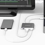 Orico Aluminum USB Type-C hub geschikt voor MacBook, 1x USB Type C, 3x USB 3.0 1x HDMI Converter - Sky Grey