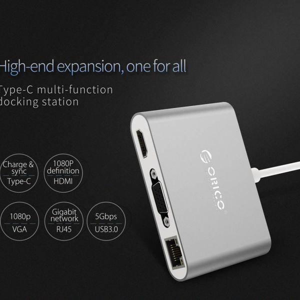 Orico Aluminium USB-Typ-C-Hub mit VGA, HDMI, Ethernet und USB 3.0 Typ A und C-Terminals - Silber