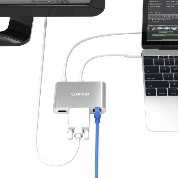 Orico aluminium moyeu de type C avec USB VGA, de type HDMI, Ethernet, USB 3.0 et bornes A et C - argent