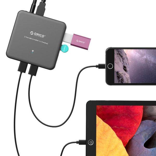 Orico USB3.0 Hub 7 ports avec USB3.0 - BC1.2 - 5Gbps - Incl. Alimentation - interrupteur Marche / Arrêt - Noir