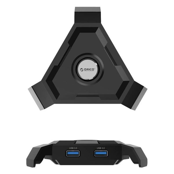 Orico Cable holder for your mouse / USB 3.0 Hub - 4x USB3.0 type-A ports - 1x Smart Charge Charging port 2.4A - Cable management - For gaming, organized desk etc. - Black