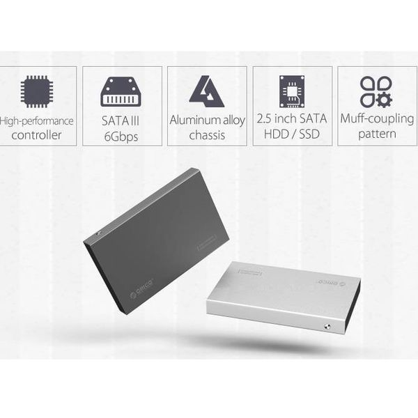 Orico 2,5-Zoll-Festplattenlaufwerksgehäuse - Aluminium - Schrauben - SSD / HDD - USB 3.0 - Silber