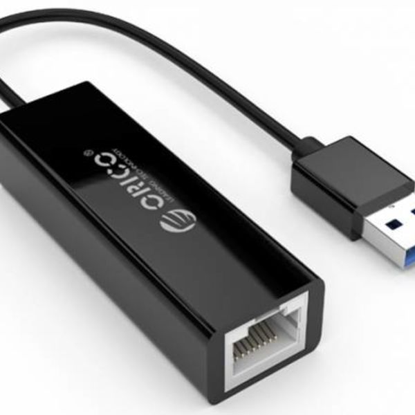 Orico USB3.0 Type-A to Ethernet Gigabit Adapter - 10/100 / 1000Mbps - 13CM Cable - Black